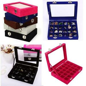 24-Velvet-Glass-Jewelry-Ring-Earring-Display-Organizer-Holder-Storage-Case-Box