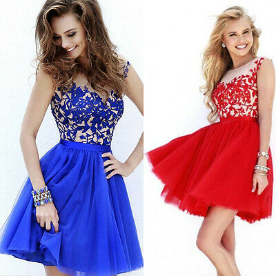 Womens Lace Short Formal Cocktail Prom Ball Gown Evening Party Bridesmaid Dress