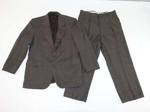 Savile-Row-Men-039-s-2-Button-Suit-Size-42-Regular-34-x-27-Brown-Plaid-100-Wool-42R