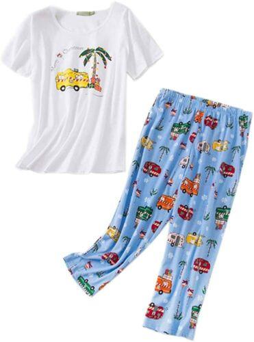Details about  /Women Pajama Set Sleepwear Tops with Capri Pants Casual and Fun Prints Pajama Se