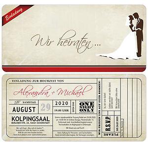 Vintage-Einladungskarte-zur-Hochzeit-mit-Antwortkarte-Used-Look-Eintrittskarte
