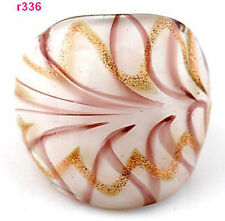 Abstract exquisite handwork flower Lampwork art Glass ring size 8 J336