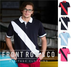Front-Row-diagonale-Rayures-Coton-Pique-Polo-Chemise-Slim-Fit-100-coton