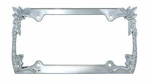 Chrome Gold Metal Pirate Sword Bone License Plate Tag