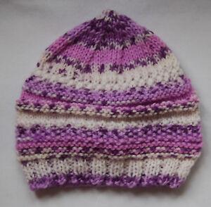 Hand Knitted Baby Chapeau Lilas Violet Blanc Mix Nouveau-né-afficher Le Titre D'origine