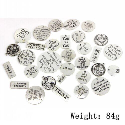 31Pcs//lot Tibetan Silver Letters Word Mix Charms Bracelet Pendants Jewelry DIY