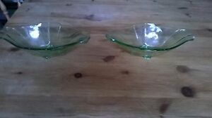 Pair-of-Vintage-Art-Deco-Green-Glass-Bowls