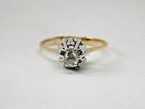 18CT-oro-antiguo-de-exquisita-Antigua-Corte-Diamante-Solitario-Anillo-Tamano-N