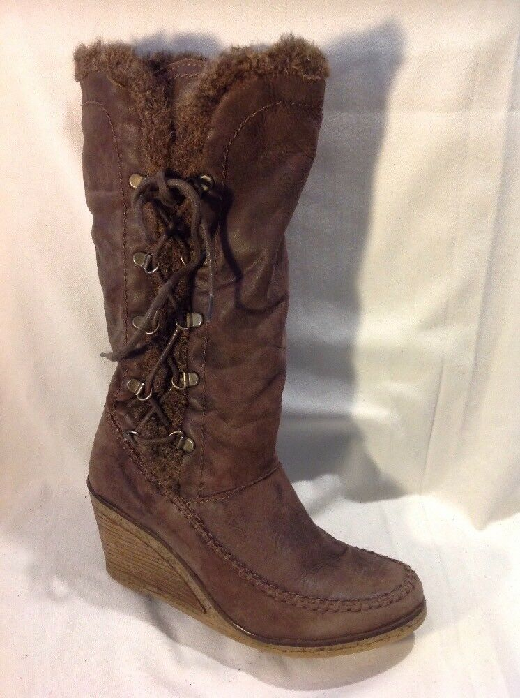 Next Brown Mid Calf Leather Boots Size 6