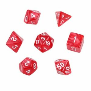 Red-Marble-Set-of-7-Plastic-Polyhedral-Acrylic-Dice-for-D-amp-D-w-Velvet-Bag