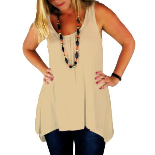 RSVH WHT Womens Hanky Top Summer Gathered Ladies Plus Size Vest Hem Flared Dress