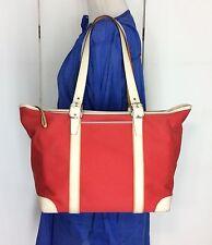 Coach Red Canvas White Leather Hampton Legacy West Market Tote Shopper Bag L/XL