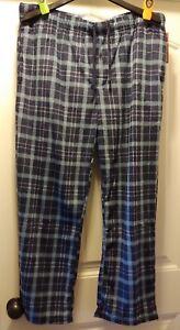 NWT Merona Men/'s Fleece Drawstring Elastic Band Blue Plaid Sleep Lounge Pants