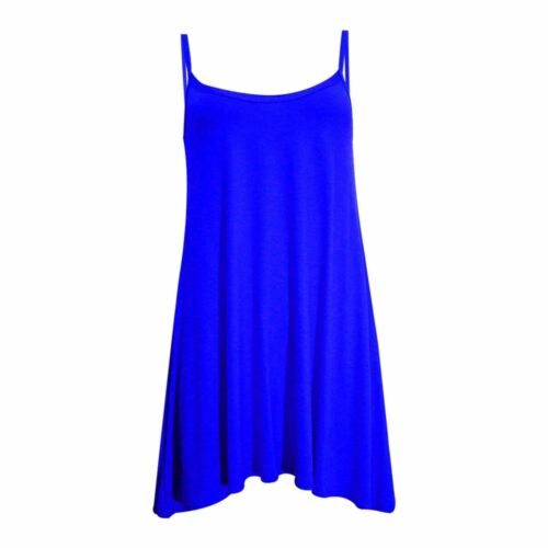 Ladies Camisole Cami Flared Skater Womens Strappy Vest Top Swing Mini Dress 8-24