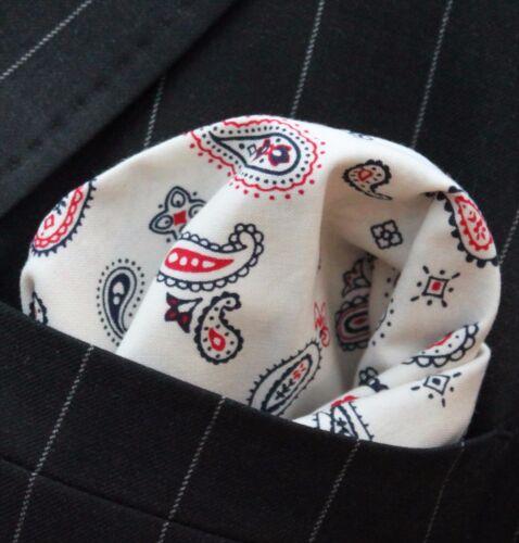 Hankie Pocket Square Handkerchief Ivory Black Red Paisley Premium Cotton UK Made