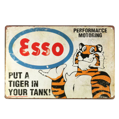Esso Petrol Tiger Motor Oil Old Vintage Tin Metal Sign Advert Retro