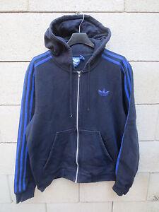 Détails sur Veste à capuche ADIDAS noir rétro vintage tracktop jacket trefoil M coton