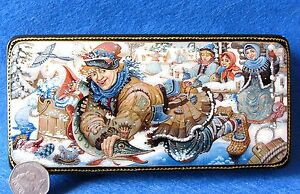 Russian-GICLEE-Lacquer-Box-As-Pike-Orders-Fairy-Tale-PALEKH-EMELYA-Ice-Fishing