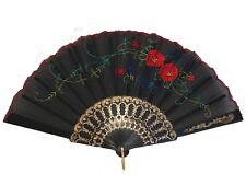 Black Chinese Folding Cloth Hand Fan