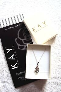 Kay-Jewelers-Diamond-Necklace-in-Sterling-Silver-Blue-amp-White-NEW-Guarantee