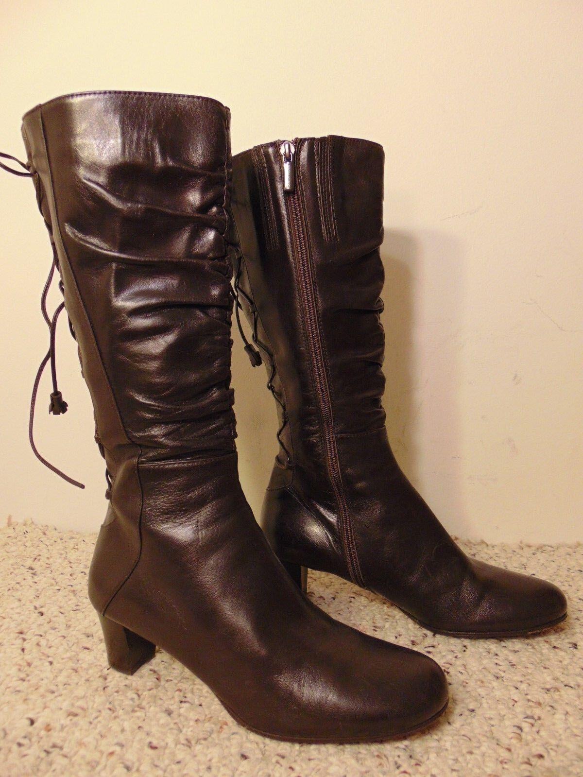Taryn pink Regina Dark Brown Leather Knee High Boots size 37.5