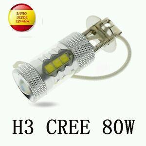 2X-BOMBILLAS-H3-LED-CREE-80W-ANTINIEBLA-COCHE-ALTA-POTENCIA-BLANCO