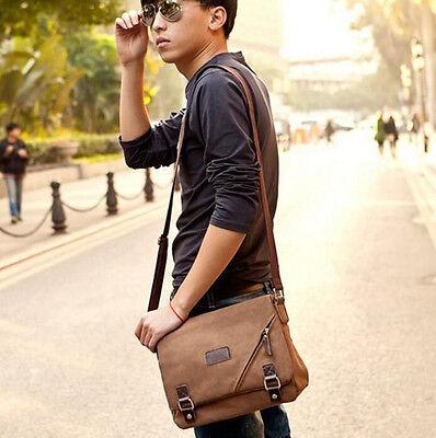 Student Bag Satchel Men's Brown Canvas Leather Messenger Shoulder Travel Hiking