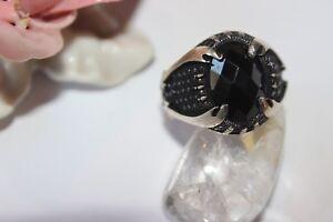 Herausragende Eigenschaften 20,3 Mm Ø PüNktlich Silberring Männerring Ring Sterlingsilber 925 Handarbeit Onyx 64
