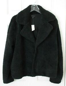 Banana-Republic-Women-Black-Faux-Fur-Teddy-Jacket-Sz-L-NWT-Retails-99