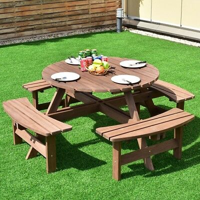 Stupendous Home 8 Seat Wood Picnic Table Beer Bench Dining Set Pub Garden Yard Outdoor Us Ebay Gamerscity Chair Design For Home Gamerscityorg
