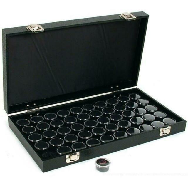Gemstone Travel Case with 50 Gem Jars White Display Tray Insert