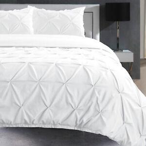 Blanc-Pintuck-Literie-Lit-Chambre-Parure-De-Lit-Simple-Double-Super-King-Tailles