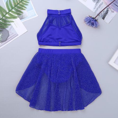 Kid Girls 2-Piece Lyrical Ballet Dance Crop Top Skirt Outfits Gym Praise Dress