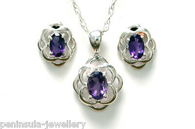 Sterling Silver Amethyst Celtic Pendant and Earring Set Boxed Made in UK