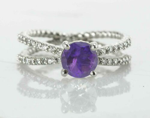925 Sterling Silver Ring Natural Purple Amethyst Cross Shank Solitaire Sz 4-11