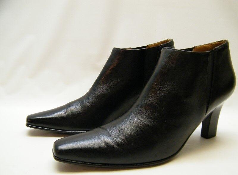 Tacón para mujer cuero Salvatore Ferragamo Negro botas al Tobillo Tobillo Tobillo Zapatos Talla 8.5  1 2 AA  tienda hace compras y ventas