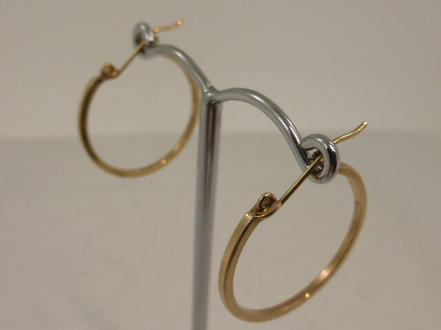 9ct Solid Yellow gold Square Profile Round Hoop Earrings