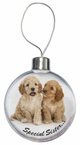Cockerpoodles /'Sister/' Sentiment Christmas Tree Bauble Decoration Gift AD-CP5CB