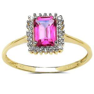 Plata-de-Ley-Chapada-en-Oro-Topacio-Rosa-amp-Anillo-con-Diamante