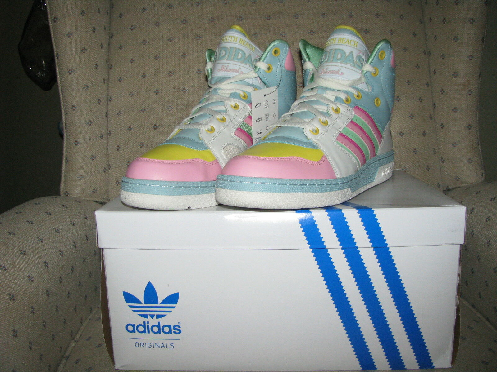 ADIDAS ORIGINALS ObyO JEREMY SCOTT LICENSE PLATE MIAMI UJ 10.5 Beach Wings Sz US 10.5 UJ ede62d