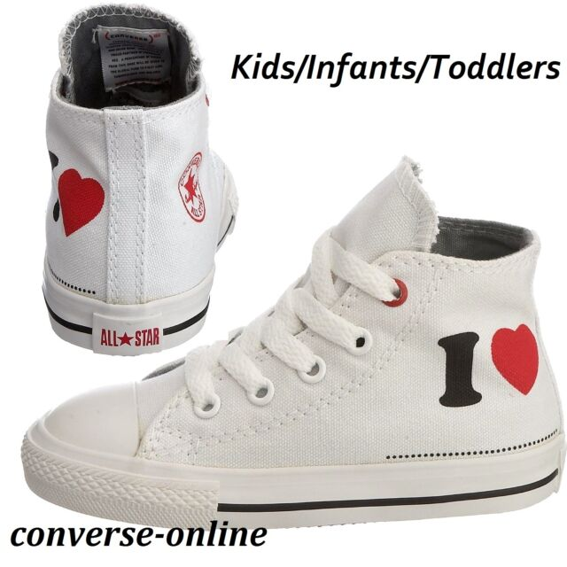7bf6c2707b6c BABIES Boy s Girls CONVERSE All Star I LOVE HIGH TOP Trainers Boots 19 SIZE  UK 3