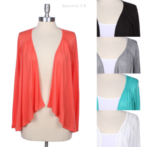 Solid Long Sleeve Ruched Draped Open Cardigan Jacket Casual Cute Warm Easy Wear
