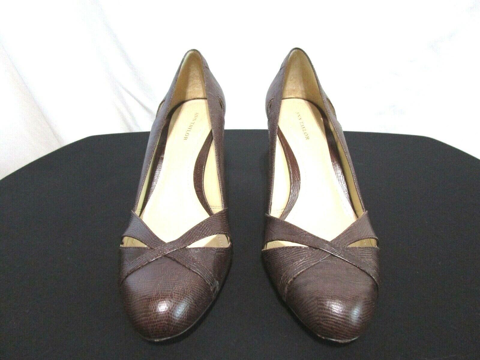EUC! Ann Taylor Brown Lizard Leather Cut Outs High Heel Pumps Shoes Sz 8.5 M