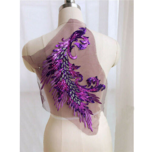 1PC Peacock Embroidery Lace Applique Sequins Tulle Patch DIY Sew on Dress Decor