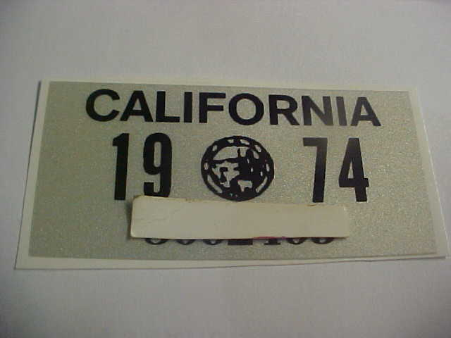 Pay Registration Online Ca >> 1974 California License Plate Registration Yom Sticker For The Ca Plates