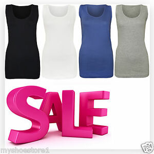 cf4796e0126 Image is loading NEW-LADIES-WOMENS-PLAIN-SUMMER-STRETCHY-RIBBED-CASUAL-