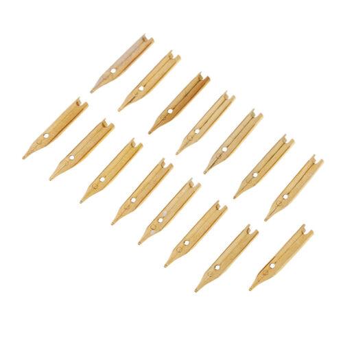 15 Pcs Gold Pen Tips 0.5mm Fountain Pens Nib Feed Pen Tips Replacement Nibs