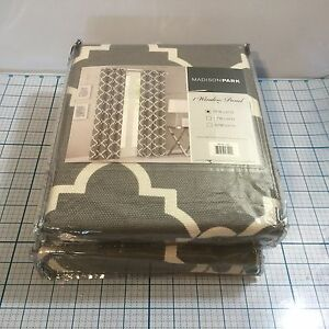 "New (2) MADISON PARK Saratoga Window Curtains Panels - Grey - 50"" X 63"""