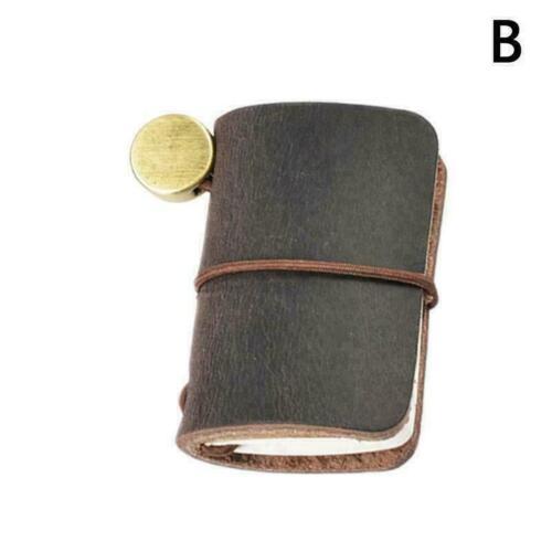 Mini handgemachte Vintage Echtleder Traveler Journal Bürobedarf Notizbuch Q U7Y6