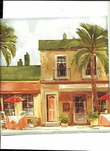 Details About Beach Side Cafe Stores With Lots Of Palms Wallpaper Border York Tk6268